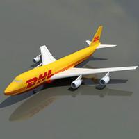 b 747 dhl 3d model
