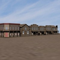 3d model old west houses