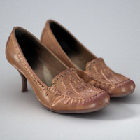 brown leather shoes women 3d model