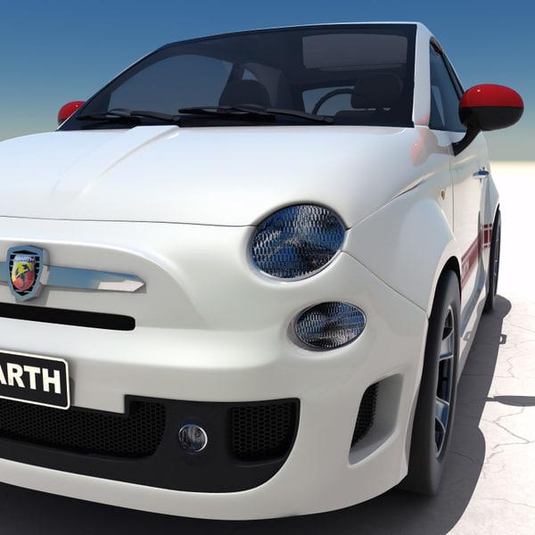 Fiat 500 Abarth 2008 3d Model