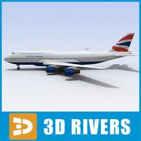 b-747 passenger aircraft 3ds