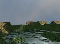 Skydome Terrain with water Scene
