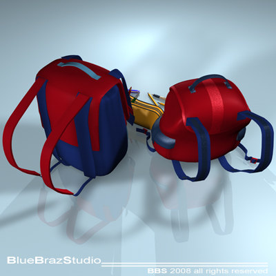 backpack school tools 3d model - backpack School tools... by BraZ