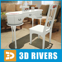 retro table chair 3d obj