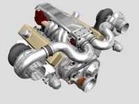 twin-turbo v8 engine 3d model