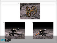 3d model antique cannon