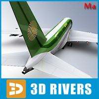 airbus a380 green tail 3d model