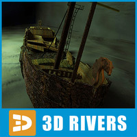 sunken ship underwater 3d 3ds