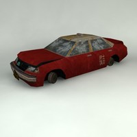 3d model abandoned hong kong taxi