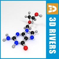 3d model acyclovir molecule structure