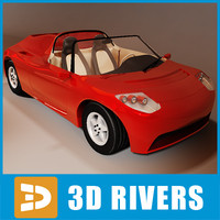 3d electric tesla roadster model
