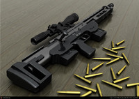 photoreal sniper-rifle dsr bullet 3d model