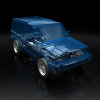 3d model suv chassis x-ray