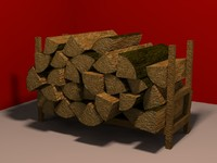 stacked firewood 3d obj
