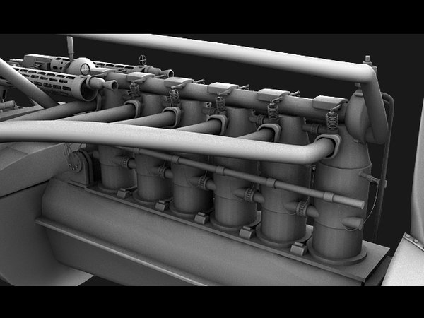 3d model engine albatros - High detail Engine Weapon and cokpit... by Monzaimon
