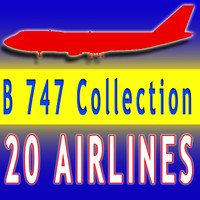 20 Airline Textures Boeing 3D Aircraft Models V1