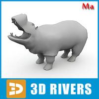 polygonal hippopotamus fbx