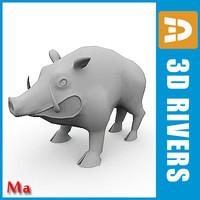 3d polygonal wild boar