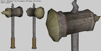 3d medieval war hamer mace model