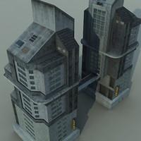 3d building futuristic city model