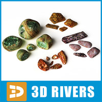 semiprecious decor stones rocks 3d max