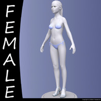 realistic female modeled body character 3d model