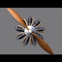 rotary engine airplanes 3d model