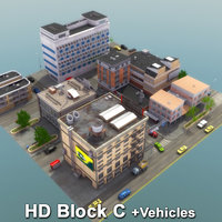 city block vehicles road street 3d 3ds