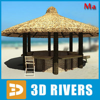 3d model tropical beach bar chairs