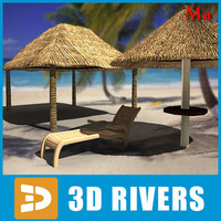 Deck chair and beach umbrella v1 by 3DRivers