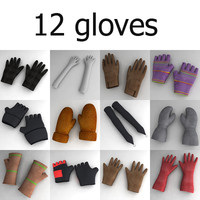 3d model gloves winter sport