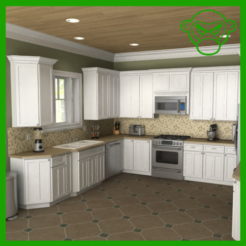 3d model of kitchen set for Model kitchen set sederhana