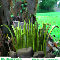 3d model cartoon grass