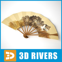 3d model wooden japanese fan