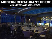 3d scene modern restaurant furniture