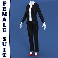 Female Suit + Mannequin 3d Model