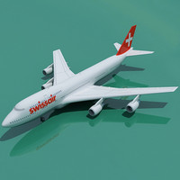 boeing 747 swiss air 3d model