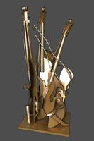 Surreal Metallic Violin Figure