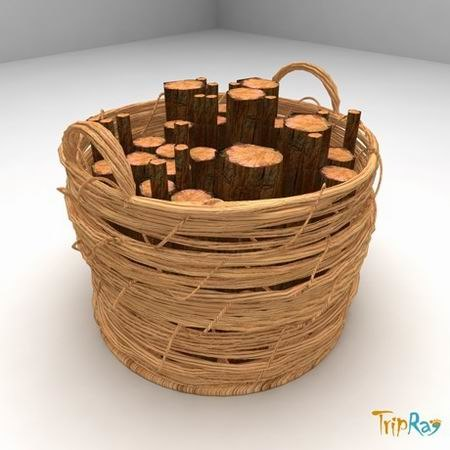 3d model logs basket