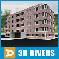 3d apartment building house model