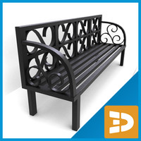 3d model bench metallic