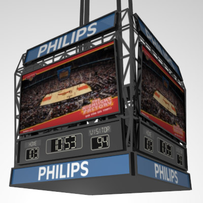 basketball scoreboard w adjustable 3d model - Scoreboard w/ Adjustable Score, Clock, & Jumbotron... by tronitecgamestudios