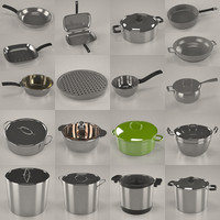 3d pots pans model