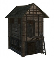 3d old storehouse medieval model