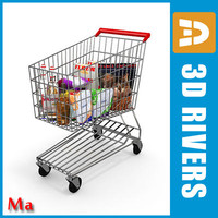 3d x metallic shopping cart v1