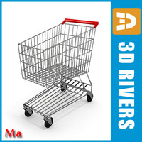 metallic shopping cart v1 3d model