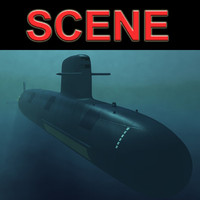 scorpene attack submarine 3d c4d