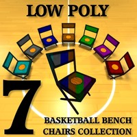 3d basketball bench chairs model
