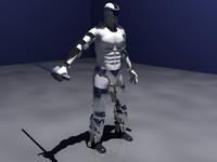 3d model cyborg ninja character