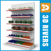 3dsmax shelves tableware display shelf